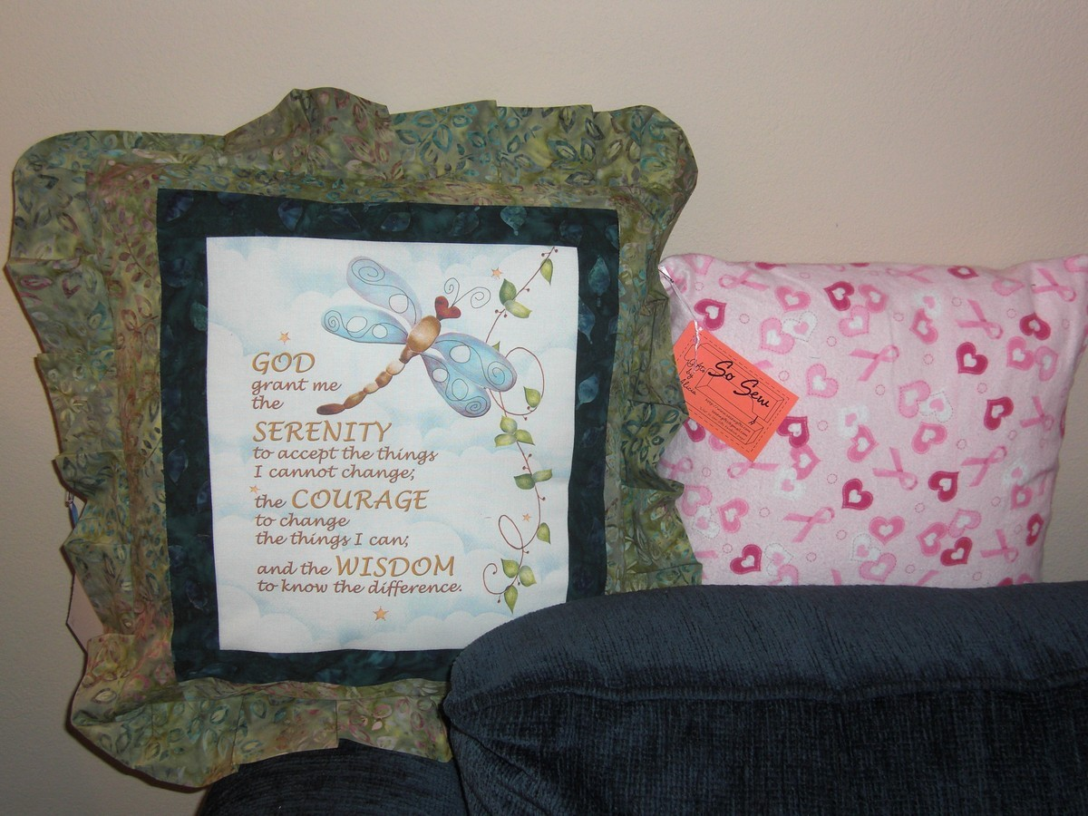 serenity prayer and breast cancer pillows
