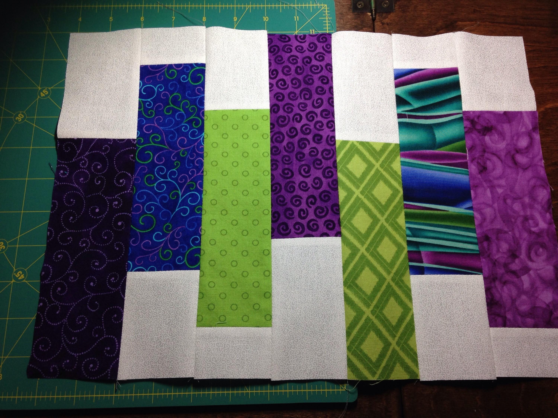 first purple green block